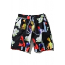 Cool Abstract Floral Printed Mens Cotton Black Quick Dry Board Shorts