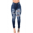 Cool Stylish Destroyed Ripped Dark Blue Skinny Fit Jeans for Women