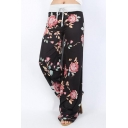 Summer Chic Floral Pattern Drawstring Waist Casual Wide Leg Lounge Pants for Women