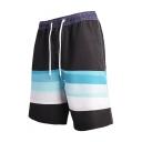 Men's New Fashion Colorblock Drawcord Waist Beach Surfing Shorts Swim Trunks
