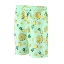Summer Cyan Pear Lemon Printed Guys Elastic Waist Beach Shorts Swim Trunks with Liner