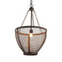Rust Metal Mesh Pendant Light 1 Light Industrial Metal Ceiling Light for Restaurant Bar