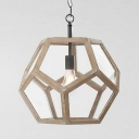 Polyhedron Shade Kitchen Stair Light Fixture Metal Clear Glass 1 Light Vintage Style Hanging Light