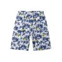 Men's Trendy Drawstring Fast Drying Blue Tropical Tree Plant Swim Trunks with Pockets