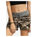 Hot Fashion Classic Army Green Camo Printed Drawcord Elastic Waist Womens Sport Athletic Sweat Shorts