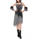 Girls Halloween Pirate Cosplay Costume Stripe Printed Asymmetrical Cami Dress