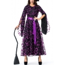 Womens Halloween Witch Cosplay Costume Purple Moon Printed Tied Waist Party Dress Two-Piece Maxi Dress