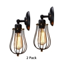 2 Pack 1 Light Sconce Light with Caged Shade Industrial Metal Wall Light in Black for Restaurant Cafe