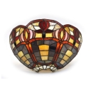 Hallway Foyer Flower Shape Sconce Light Colorful Glass Up Lighting Tiffany Style Wall Lamp