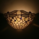 Dragonfly Pattern Dining Room Wall Lamp Glass Tiffany Style Vintage Sconce Light with Multi Color