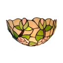 Stained Glass Lotus Pattern Wall Lamp Restaurant Cafe 1 Light Tiffany Style Vintage Sconce Lamp