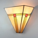 Stained Glass Triangle Shade Wall Light 1 Light Tiffany Style Rustic Sconce Lamp for Bathroom Restaurant