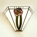 Tiffany Style Romantic Wall Lamp with Flower Pattern Frosted Glass Sconce Lamp for Bedroom Dinging Room