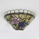 Tiffany Style Vintage Wall Lamp Stained Glass Flower and Bird Pattern Wall Light for Bedroom Bathroom