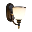 Up Lighting Sconce Light Bedroom Foyer 1/2 Lights Vintage Style Metal Frosted Glass Wall Sconce