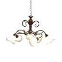 Metal Glass Pendant Light Flower Shade Leaf Decoration 6 Lights Rustic Style Chandelier for Shop Foyer