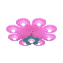 Pink/Blue Flower Shape Ceiling Light Girl Boy Bedroom Creative Eye-Caring Light Fixture