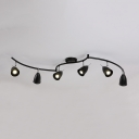 Angle Adjustable Wireless Ceiling Light 6 Heads White/Black Cone Spot Light in White/Warm for Dining Room