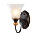 White Tapered Shade Wall Light Antique Style Metal Glass Sconce Lamp in Black for Dining Room Bathroom