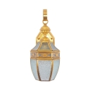 Balcony Stair Lantern Shape Wall Light Metal Glass Single Light Antique Style Sconce Light