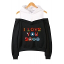 Chic Colorful Letter I Love You 3000 Cold Shoulder Fake Two-Piece Long Sleeve Hoodie
