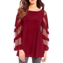 Women's Solid Color Round Neck Mesh Panel Long Sleeve Casual Loose Chiffon Blouse Top