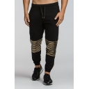 Mens Stripe Black Drawstring Waist Cotton Casual Sport Joggers SweatPants