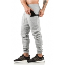 New Trend Plain Drawstring Waist Zip Pocket Cotton Sport Joggers SweatPants Pencil Pants