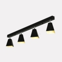 Black/White/Blue LED Ceiling Light Angle Adjustable 4 Heads Metal Spot Light for Dining Room