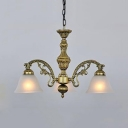 Antique Style Black/Bronze/Copper Chandelier with Cone Shade Metal Glass Pendant Light for Bedroom