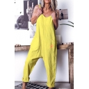Women's Summer Basic Solid Color Sleeveless Casual Loose Strap Jumpsuit with Pocket