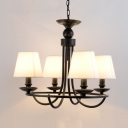 Restaurant Hotel Tapered Shade Chandelier Metal Fabric 4/6 Lights Rustic Style Black Suspension Light
