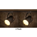 (2 Pack)Cafe Restaurant Cylinder Ceiling Fixture 1 Head Antique Rotatable Track Lighting in White/Warm