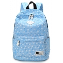 Casual Floral Printed Canvas Bookbag School Backpack 28*16*41 CM