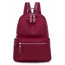 Popular Solid Color Nylon Waterproof School Bag Backpack 30*14*34 CM