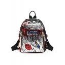 Women's Fashion Letter Lip Lipstick Pattern Sequined Mini Backpack 24*30*14 CM