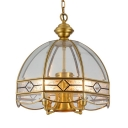 Metal and Clear Glass Chandelier Living Room 5 Lights Classic Dome Shade Ceiling Light