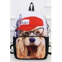 Fashion Dog Printed White Laptop Backpack School Backpack 31*15*43 CM
