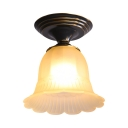 Frosted Glass Flush Ceiling Light Kitchen 1 Light Antique Style Bell Shade Overhead Light