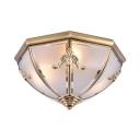 Dome Living Room Flush Ceiling Light Frosted Glass 3/4/6 Lights Elegant LED Light Fixture in Brass