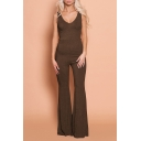 Women's New Simple Plain Sexy V-Neck Sleeveless Skinny Pants Jumpsuit