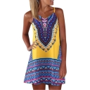 Summer Unique Tribal Printed V-Neck Sleeveless Mini Strap Dress Beach Dress