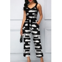 Women's Summer Black Print Sexy V-Neck Spaghetti Straps Bow-Tied Waist Wide Legs Jumpsuits