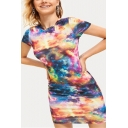 Fashion Unique Galaxy Tie Dye Round Neck Short Sleeve Mini Fitted T-Shirt Dress