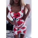 Girls Summer Trendy Floral Printed Sleeveless Mini Bodycon Dress