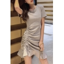 Girls Summer Basic Round Neck Short Sleeve Drawstring Side Ruffled Hem Mini Dress