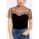 Womens Chic Sheer Mesh Panel Short Sleeve Black Basic Velvet T-Shirt