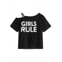 Women's Funny Letter GIRLS RULE Printed Round Neck Strap One Shoulder Casual T-Shirt