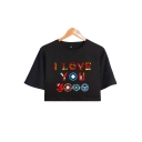 Womens Unique Cool Colorful Iron Letter I LOVE YOU 3000 Basic Short Sleeve Cropped Tee