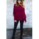 Women's Sexy One Shoulder Long Sleeve Simple Plain Ribbed Knit T-Shirt